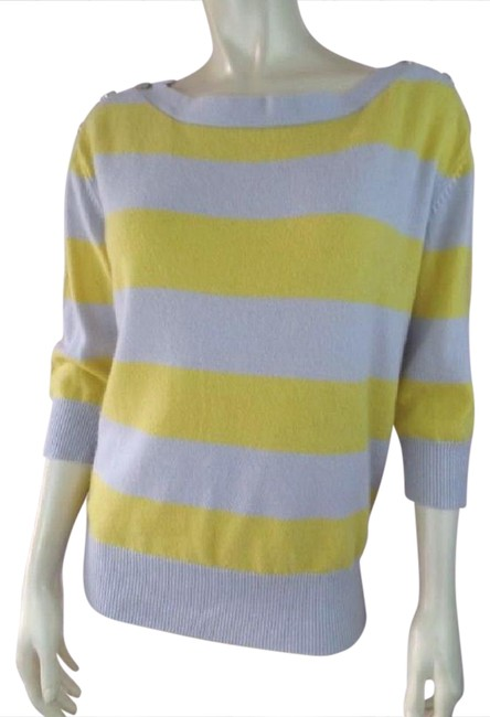 Preload https://img-static.tradesy.com/item/21124644/urban-outfitters-gray-yellow-stripe-cashmere-button-shoulder-sweaterpullover-size-6-s-0-1-650-650.jpg