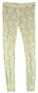 Free People NWT Sheer Pucker Lace Knit Stretch Leggings Textured Ivory SMALL