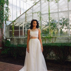 Vintage Remade Two Piece Crop Top Gown Wedding Dress