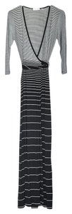 Black White Maxi Dress by Calvin Klein Wrap Stripes