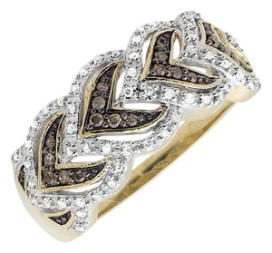 Other Leaf Cognac Brown And White Diamond Wedding Band Ring 0.25ct.