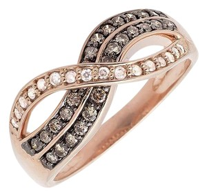 Other Infinity Cognac Brown And White Diamond Wedding Band Ring 0.50ct.