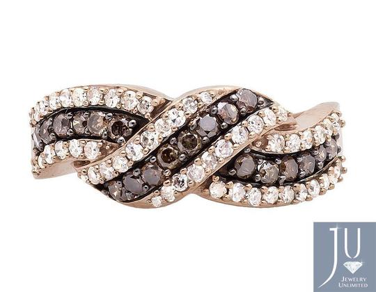 Other Swirl Ribbon Cognac Brown and White Diamond Wedding Band 0.75ct