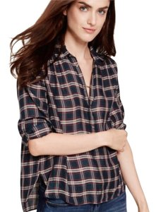 Madewell Popover Plaid Button Up Button Down Shirt blue