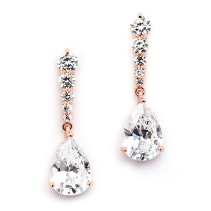 "Mariell ""new"" Rose Gold Crystal Pears Dangle Earrings"