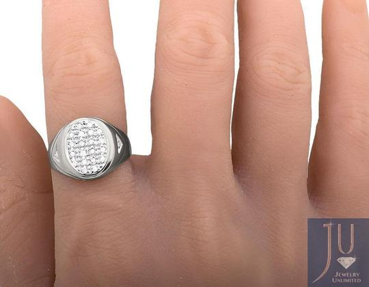 Other Mens 10K White Gold Oval Shape Top Genuine Diamond Pinky Ring 0.25ct.