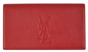 Gucci Ysl Saint Laurent Leather Red Clutch