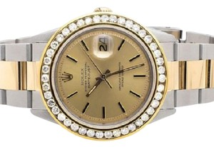 Rolex Mens Datejust Two Tone 18k Gold 36MM Stainless Steel Watch 4.0 Ct