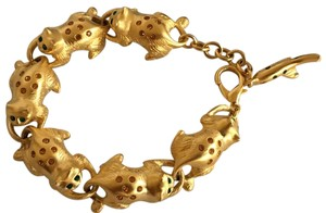 Bob Mackie Bob Mackie Cat Gold Tone Bracelet chasing fish on end new in box