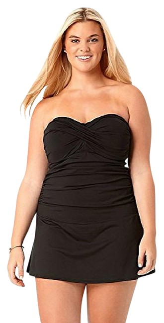 Anne Cole Black Twist Front Skirted Strapless Swimdress