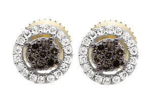 Other 7MM Halo Frame Cognac Brown and White Diamond Stud Earring 1/4ct