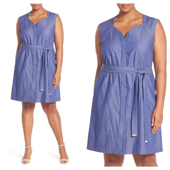 Preload https://img-static.tradesy.com/item/21125158/ellen-tracy-blue-chambray-belted-a-line-mid-length-short-casual-dress-size-18-xl-plus-0x-0-0-650-650.jpg
