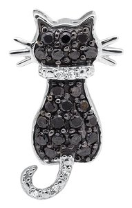 Other Kitty Cat Black and White Diamond 3/4 Inch Pendant Charm 0.33ct