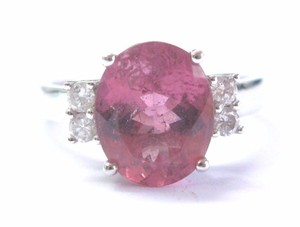Other Fine Pink Tourmaline Diamond White Gold Solitaire W Accent Jewelry Rin