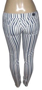 Paige Denim Skinny Pants Blue/White Striped