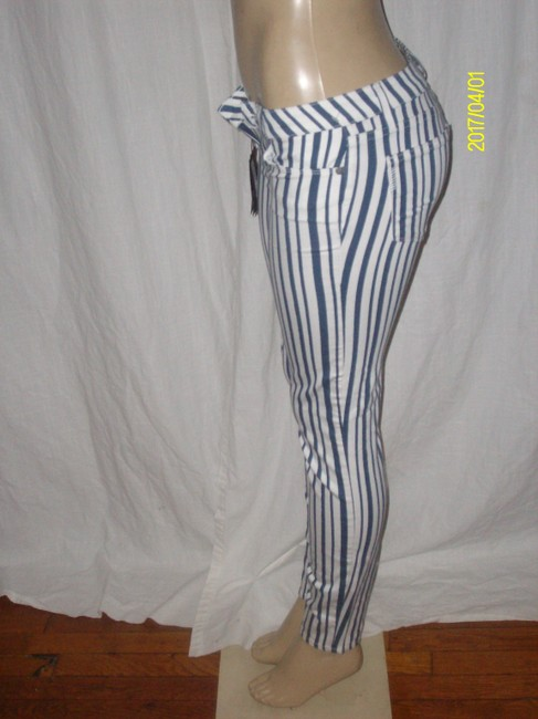 Paige Skinny Pants Blue/White Striped