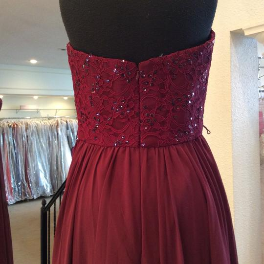 Mori Lee Bordeaux Chiffon 128 Modern Bridesmaid/Mob Dress Size 12 (L)