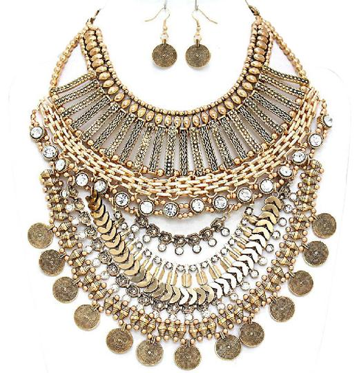 Preload https://img-static.tradesy.com/item/21125296/clear-crystal-antique-gold-metal-accent-tribal-boho-and-earrings-necklace-0-1-540-540.jpg