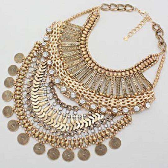 Other Antique Gold Metal Crystal Accent Tribal Boho Necklace And Earrings
