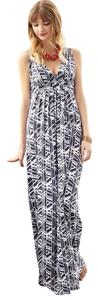 Printed - Navy and White Maxi Dress by Tart Modal/spandex Maxi Summer