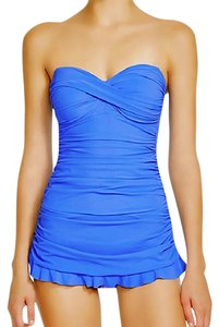 Gottex Periwinkle Twist Front Shirred Strapless Swimdress Swimsuit 18W