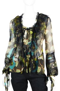 Etro Lace Leaf Silk Italian Black Top Green