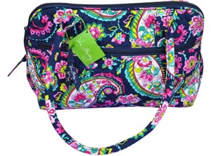 Vera Bradley Vera Fabric Spring Satchel in Petal Paisley (Blues Greens and pinks)