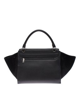 Céline Leather Suede Satchel in Black