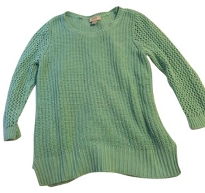 Ann Taylor LOFT Cable Knit Sweater Crochet Top Mint