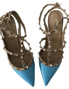 Valentino High Heels Rockstud Rock Stud Blue Pumps