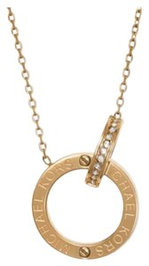 Michael Kors NIB MICHAEL KORS INTERLOCKING LOGO RING PENDANT NECKLACE GOLD TONE