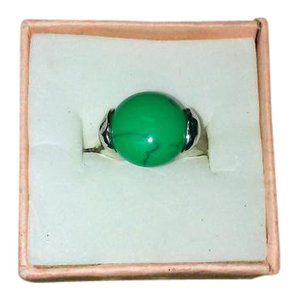 Other Size Five and a Half Sterling Silver Ring With Green Color Stone