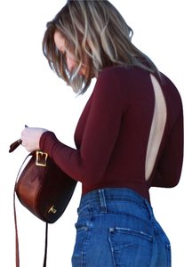 American Apparel Bodysuit High Neck Truffle Top Burgundy