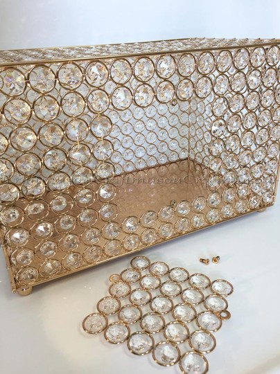 Gold Crystal Card Box / Money Bank Gold/Silver Handmade Rectangle Other
