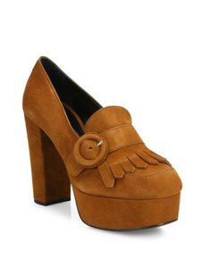 Prada Kiltie Brown Pallisandro Pumps