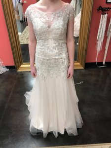Maggie Sottero Champ/Pewt Lace and Tulle Sundance Feminine Wedding Dress Size 12 (L)