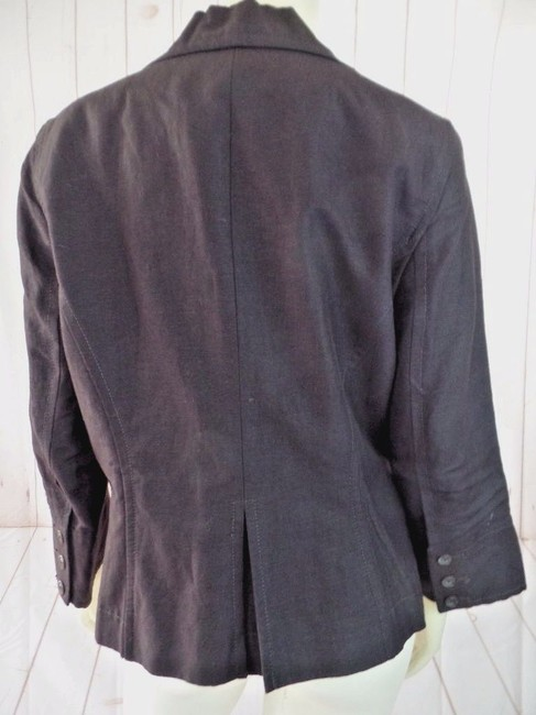 Larry Levine Shorty 3/4 Sleeves Lined Pockets Button Front Brown Blazer