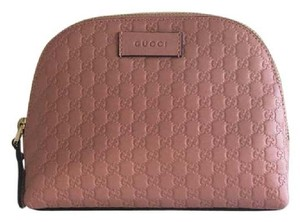 d82228747d9 Gucci Gucci Pink Microguccissima GG Leather Dome Cosmetic Bag Makeup Case