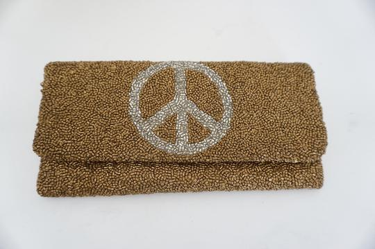 Designer Brand Beaded Peace Sign Small Blue Clutch