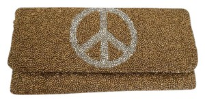 Designer Brand Beaded Peace Sign Small Gold Clutch