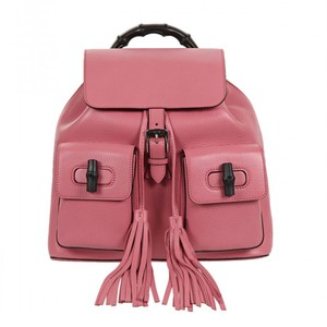 beafefac586 Gucci Bamboo Handle 370833 5528 Bubblegum Pink Leather Backpack ...