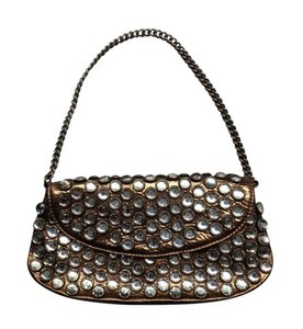 Betsey Johnson Studded Leather Metallic Gold Clutch
