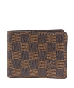 Louis Vuitton Brown Coated Canvas & Leather & Plastic Tri-Fold Wallet (23461)