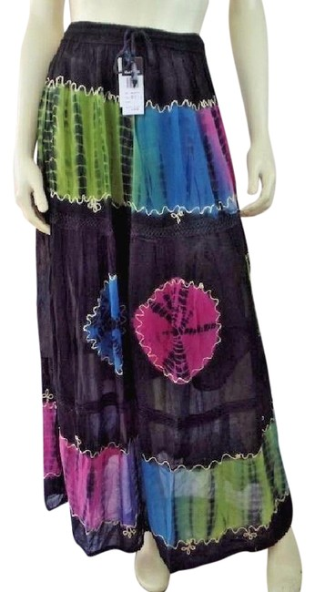 Preload https://img-static.tradesy.com/item/21125904/black-yellow-purple-pink-blue-rayon-tie-dye-lace-tiered-sheer-overlay-maxi-skirt-size-os-one-size-0-1-650-650.jpg