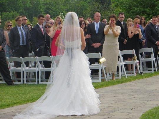 White Long Cathedral Length 108 Single Layer Bridal Veil