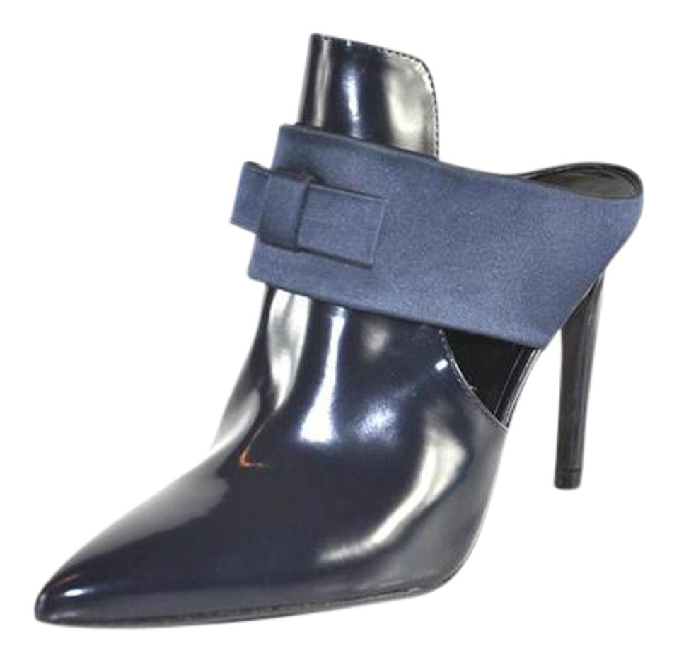 Zara Blue Mules/Slides High-heeled with Bow Leather Mules/Slides Blue e1dbfe