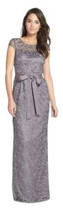 Adrianna Papell Gunmetal Gray Illusion Lace Dress
