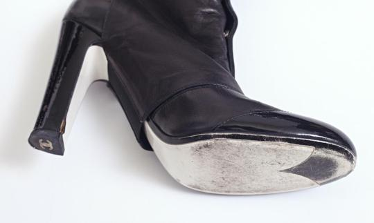 Chanel Soft Leather Heel Tall Black Boots