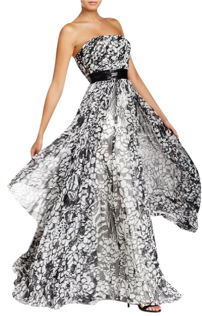 Preload https://img-static.tradesy.com/item/21126132/carmen-marc-valvo-ivory-and-black-printed-gown-with-beaded-belt-tiered-skirt-strapless-fit-flare-lon-0-4-650-650.jpg