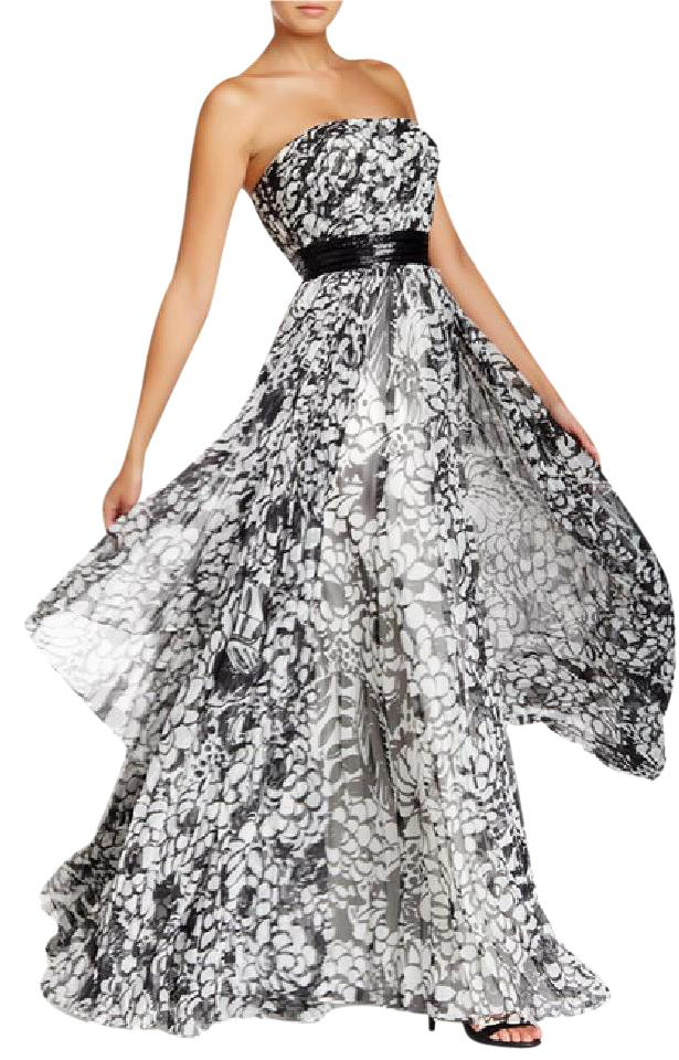 Carmen Marc Valvo Ivory & Black Printed Gown with Beaded Belt Tiered ...